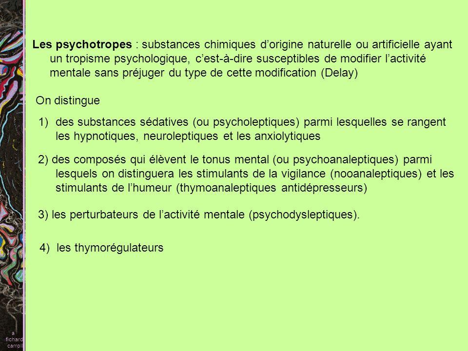 III- PSYCHODYSLEPTIQUES OU PERTURBATEURS DE LACTIVITE MENTALE hallucinogènes (LSD, chanvre indien, mescaline) capables de produire des psychoses artificielles inducteurs divresse (alcool, éther), stupéfiants : soit des substances illicites (héroïne, cocaïne), soit des médicaments comme la morphine, le Dolosal®, le Palfium®, le Temgésic® ; Ces derniers ont des indications thérapeutiques précises et limitées dans le traitement des états hyperalgiques ou comme traitement de substitution chez les toxicomanes (Méthadone®, Subutex®).