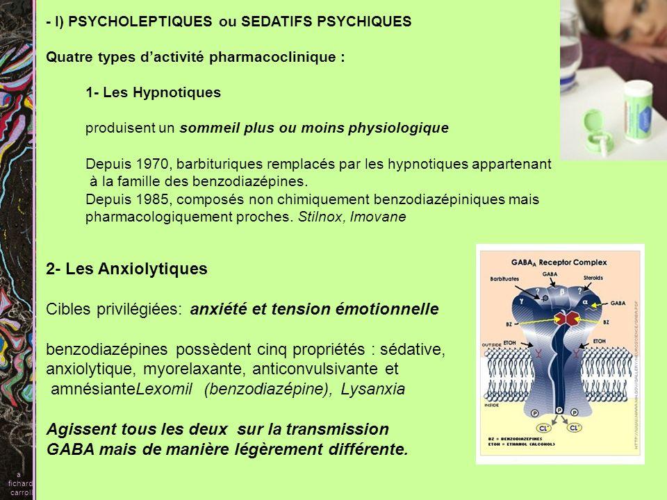 - I) PSYCHOLEPTIQUES ou SEDATIFS PSYCHIQUES Quatre types dactivité pharmacoclinique : 1- Les Hypnotiques produisent un sommeil plus ou moins physiolog