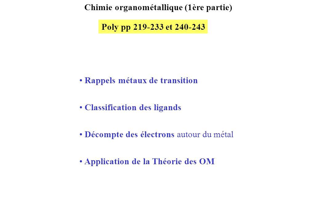 Chimie organométallique (1ère partie) Poly pp 219-233 et 240-243 Rappels métaux de transition Classification des ligands Décompte des électrons autour du métal Application de la Théorie des OM