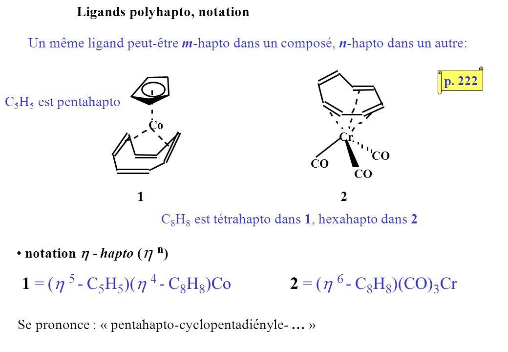 Ligands polyhapto, notation Un même ligand peut-être m-hapto dans un composé, n-hapto dans un autre: 12 Co CO Cr CO C 8 H 8 est tétrahapto dans 1, hexahapto dans 2 notation - hapto ( n ) 1 = ( 5 - C 5 H 5 )( 4 - C 8 H 8 )Co Se prononce : « pentahapto-cyclopentadiényle- … » C 5 H 5 est pentahapto 2 = ( 6 - C 8 H 8 )(CO) 3 Cr p.