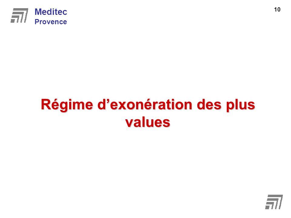 Régime dexonération des plus values Meditec Provence 10