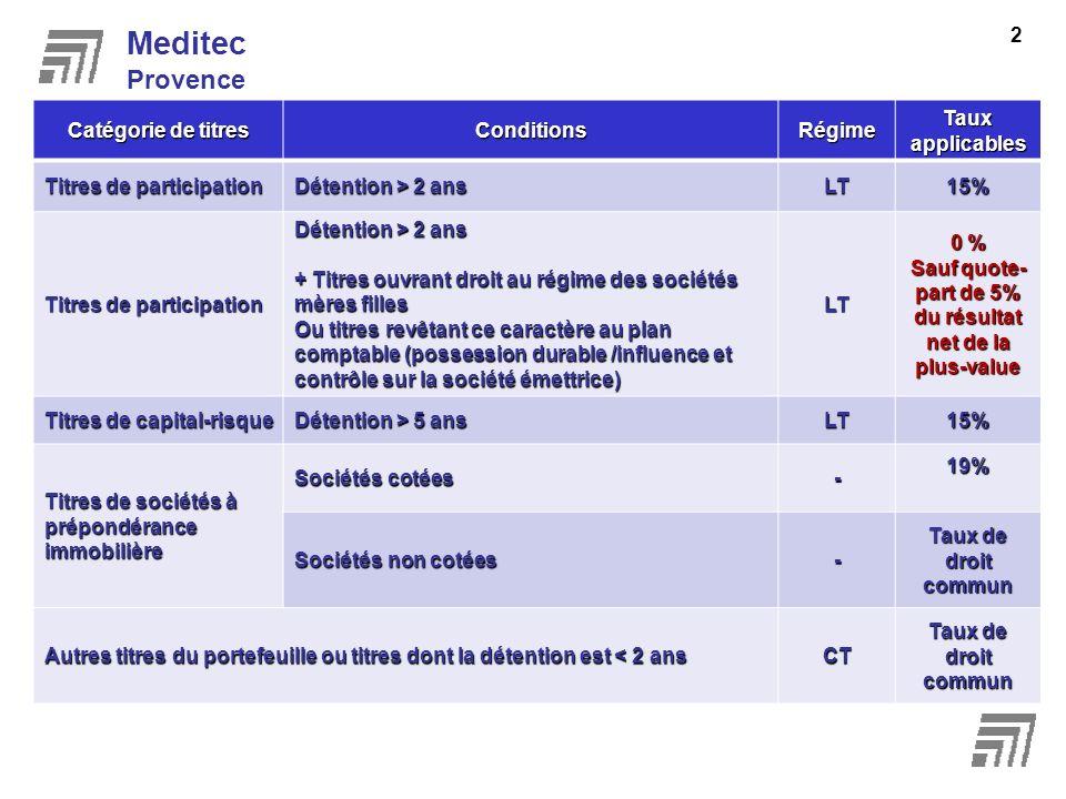 Meditec Provence 2 Catégorie de titres ConditionsRégime Taux applicables Titres de participation Détention > 2 ans LT15% Titres de participation Déten