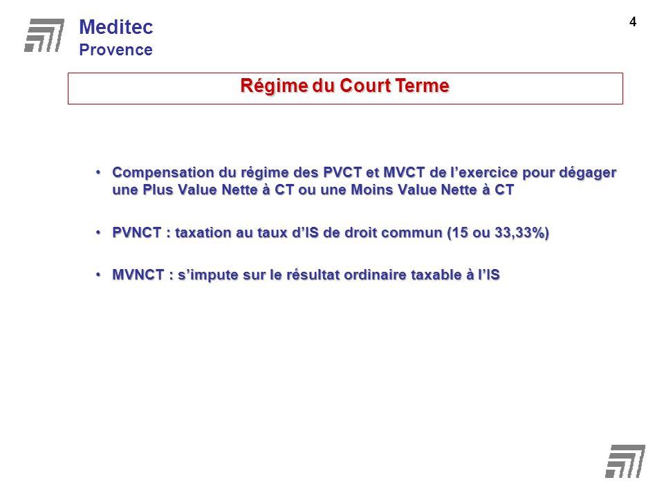Compensation du régime des PVCT et MVCT de lexercice pour dégager une Plus Value Nette à CT ou une Moins Value Nette à CTCompensation du régime des PV