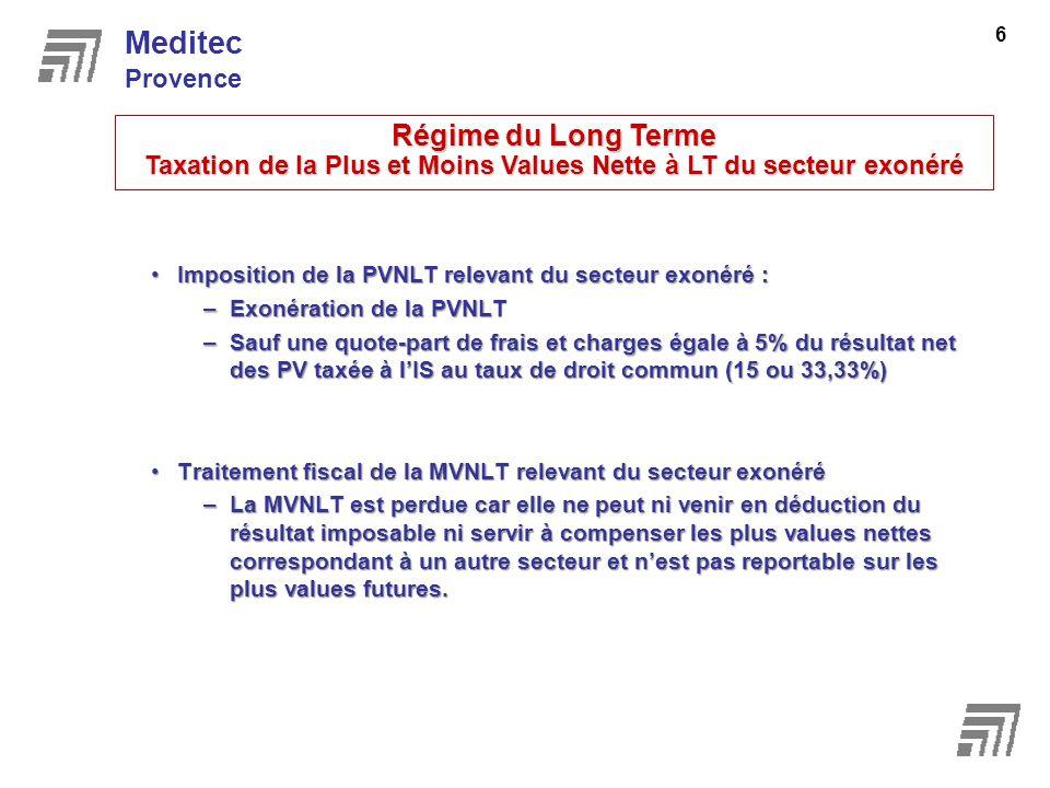 Imposition de la PVNLT relevant du secteur exonéré :Imposition de la PVNLT relevant du secteur exonéré : –Exonération de la PVNLT –Sauf une quote-part