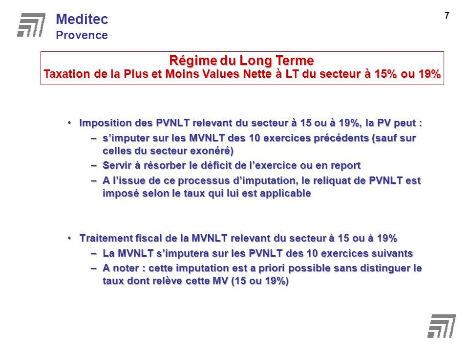 Imposition des PVNLT relevant du secteur à 15 ou à 19%, la PV peut :Imposition des PVNLT relevant du secteur à 15 ou à 19%, la PV peut : –simputer sur