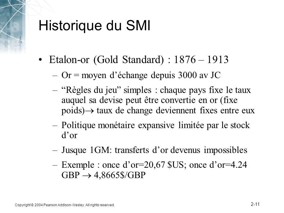 Copyright © 2004 Pearson Addison-Wesley. All rights reserved. 2-11 Historique du SMI Etalon-or (Gold Standard) : 1876 – 1913 –Or = moyen déchange depu