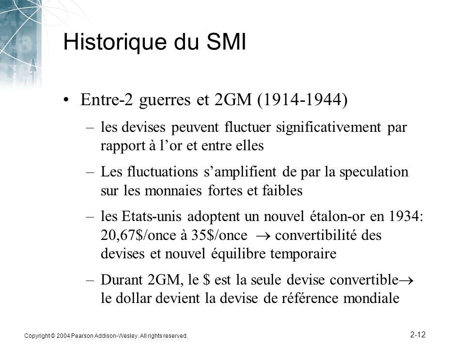Copyright © 2004 Pearson Addison-Wesley. All rights reserved. 2-12 Historique du SMI Entre-2 guerres et 2GM (1914-1944) –les devises peuvent fluctuer