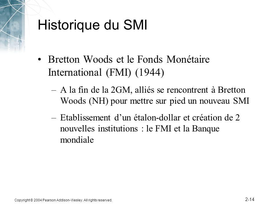 Copyright © 2004 Pearson Addison-Wesley. All rights reserved. 2-14 Historique du SMI Bretton Woods et le Fonds Monétaire International (FMI) (1944) –A