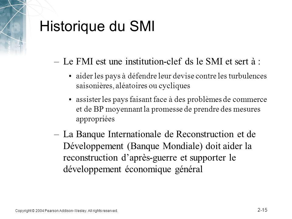 Copyright © 2004 Pearson Addison-Wesley. All rights reserved. 2-15 Historique du SMI –Le FMI est une institution-clef ds le SMI et sert à : aider les