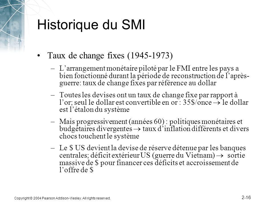 Copyright © 2004 Pearson Addison-Wesley. All rights reserved. 2-16 Historique du SMI Taux de change fixes (1945-1973) –Larrangement monétaire piloté p