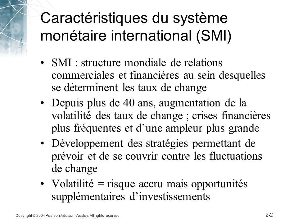 Copyright © 2004 Pearson Addison-Wesley. All rights reserved. 2-2 Caractéristiques du système monétaire international (SMI) SMI : structure mondiale d