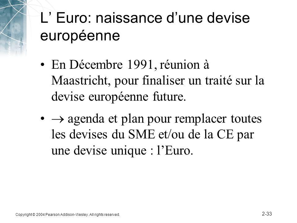 Copyright © 2004 Pearson Addison-Wesley. All rights reserved. 2-33 L Euro: naissance dune devise européenne En Décembre 1991, réunion à Maastricht, po