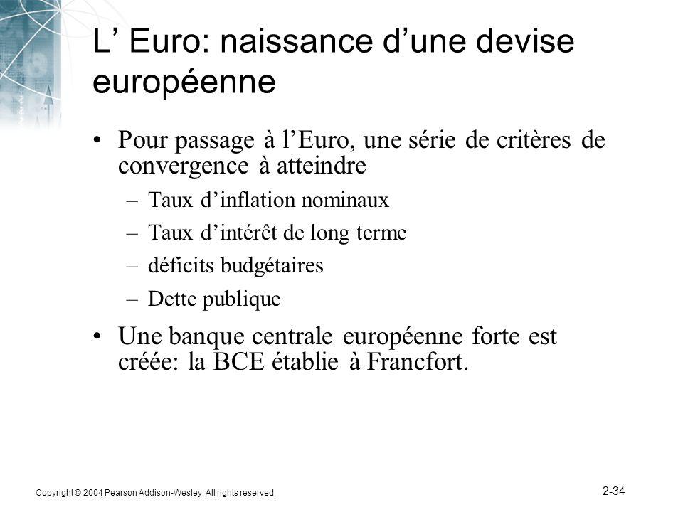 Copyright © 2004 Pearson Addison-Wesley. All rights reserved. 2-34 L Euro: naissance dune devise européenne Pour passage à lEuro, une série de critère