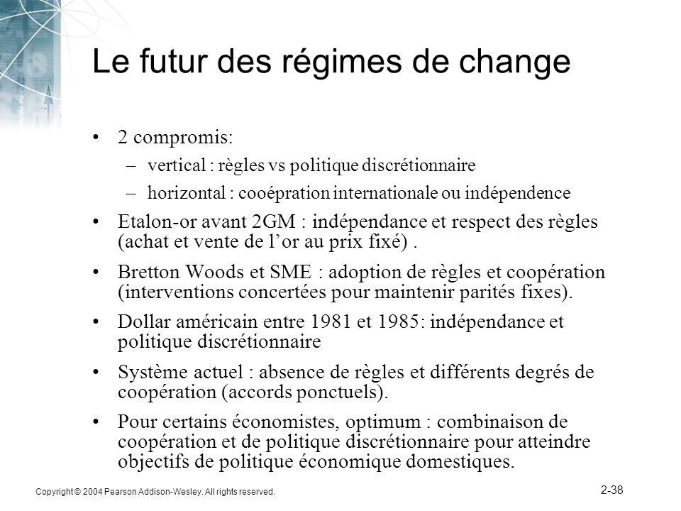 Copyright © 2004 Pearson Addison-Wesley. All rights reserved. 2-38 Le futur des régimes de change 2 compromis: –vertical : règles vs politique discrét