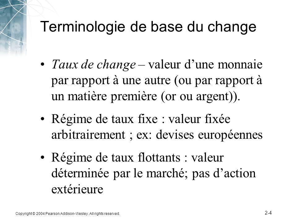 Copyright © 2004 Pearson Addison-Wesley. All rights reserved. 2-4 Terminologie de base du change Taux de change – valeur dune monnaie par rapport à un