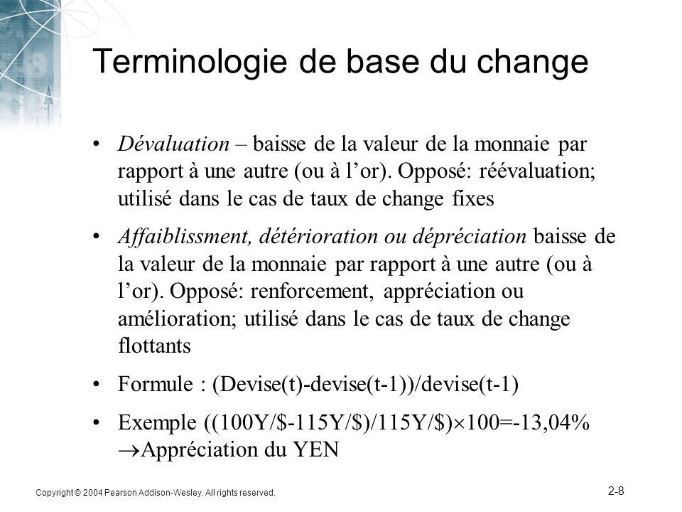 Copyright © 2004 Pearson Addison-Wesley. All rights reserved. 2-8 Terminologie de base du change Dévaluation – baisse de la valeur de la monnaie par r
