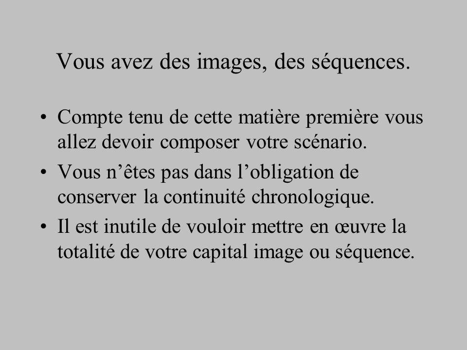 Vous avez des images, des séquences. Compte tenu de cette matière première vous allez devoir composer votre scénario. Vous nêtes pas dans lobligation