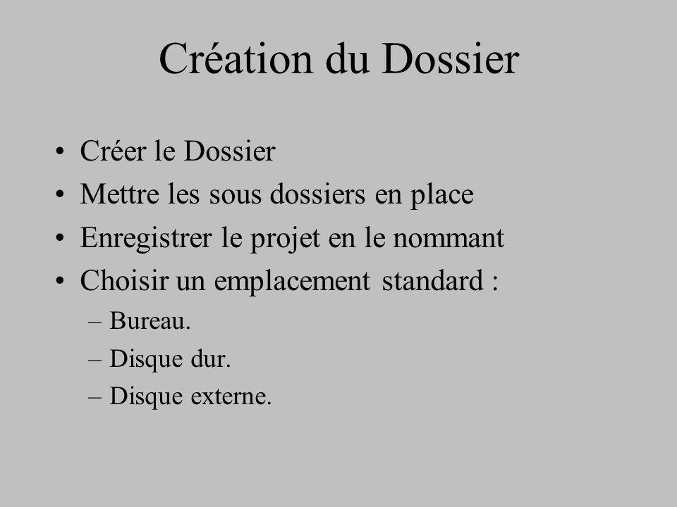 Création du Dossier Créer le Dossier Mettre les sous dossiers en place Enregistrer le projet en le nommant Choisir un emplacement standard : –Bureau.