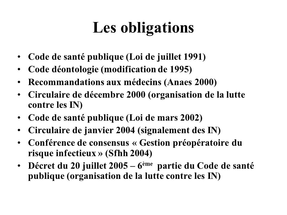 Les obligations Code de santé publique (Loi de juillet 1991) Code déontologie (modification de 1995) Recommandations aux médecins (Anaes 2000) Circula