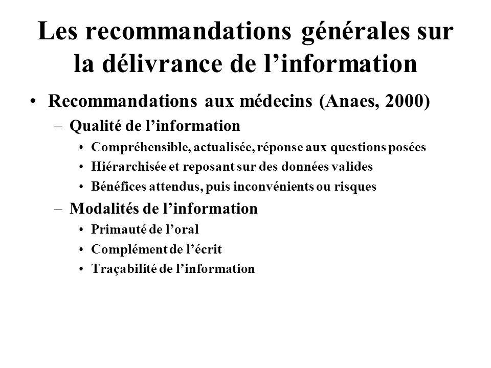 Les recommandations générales sur la délivrance de linformation Recommandations aux médecins (Anaes, 2000) –Qualité de linformation Compréhensible, ac