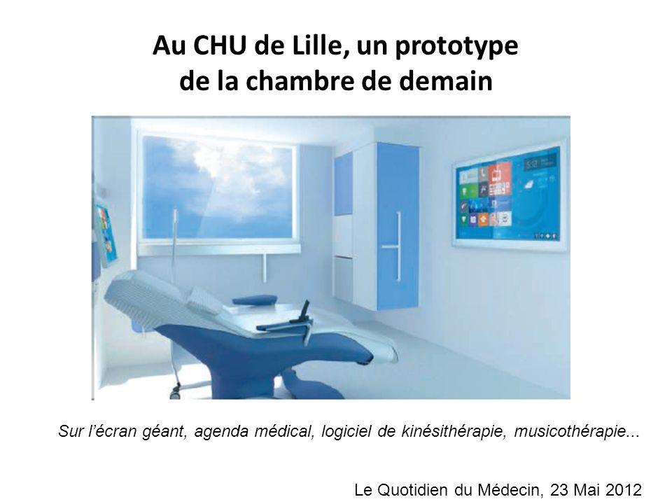Au CHU de Lille, un prototype de la chambre de demain Sur lécran géant, agenda médical, logiciel de kinésithérapie, musicothérapie... Le Quotidien du