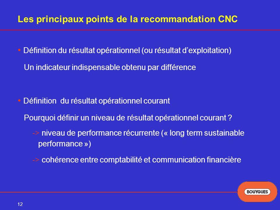 12 Les principaux points de la recommandation CNC Définition du résultat opérationnel (ou résultat dexploitation) Un indicateur indispensable obtenu par différence Définition du résultat opérationnel courant Pourquoi définir un niveau de résultat opérationnel courant .