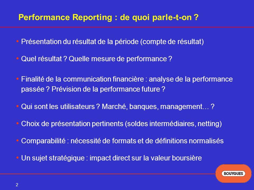 3 Le projet Performance Reporting de lIASB Le projet initial -appelé « Comprehensive Income »- a été abandonné en septembre 2003 par lIASB Il avait soulevé de nombreuses et fortes oppositions, autant au plan conceptuel quau plan de la présentation (format matriciel) La décision de relancer un nouveau projet « Performance Reporting » a été prise début 2004 Ce projet fait partie des grands projets de convergence normes IFRS / normes US menés par IASB + FASB Durée prévisionnelle : 4/5 ans