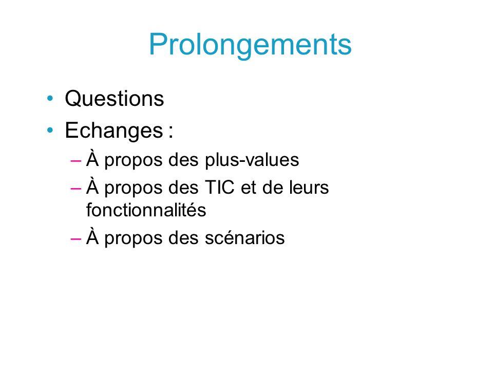Prolongements Questions Echanges : –À propos des plus-values –À propos des TIC et de leurs fonctionnalités –À propos des scénarios