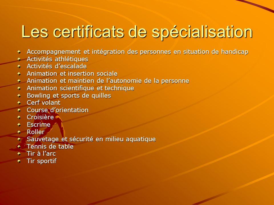Les certificats de spécialisation Accompagnement et intégration des personnes en situation de handicap Activités athlétiques Activités descalade Anima