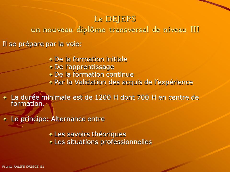 Le DEJEPS un nouveau diplôme transversal de niveau III Il se prépare par la voie: De la formation initiale De lapprentissage De la formation continue