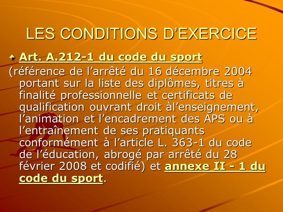 LES CONDITIONS DEXERCICE Art. A.212-1 du code du sport Art. A.212-1 du code du sport (référence de larrêté du 16 décembre 2004 portant sur la liste de