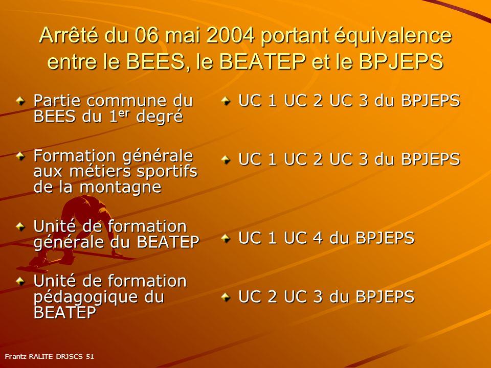 Arrêté du 06 mai 2004 portant équivalence entre le BEES, le BEATEP et le BPJEPS Partie commune du BEES du 1 er degré Formation générale aux métiers sp