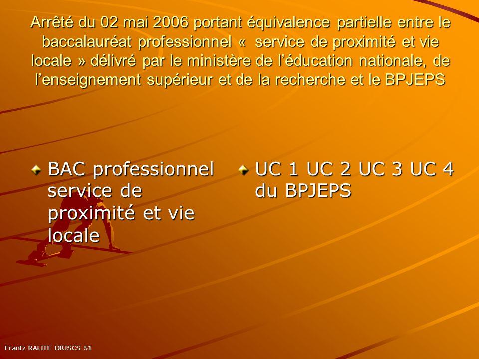 Arrêté du 02 mai 2006 portant équivalence partielle entre le baccalauréat professionnel « service de proximité et vie locale » délivré par le ministèr