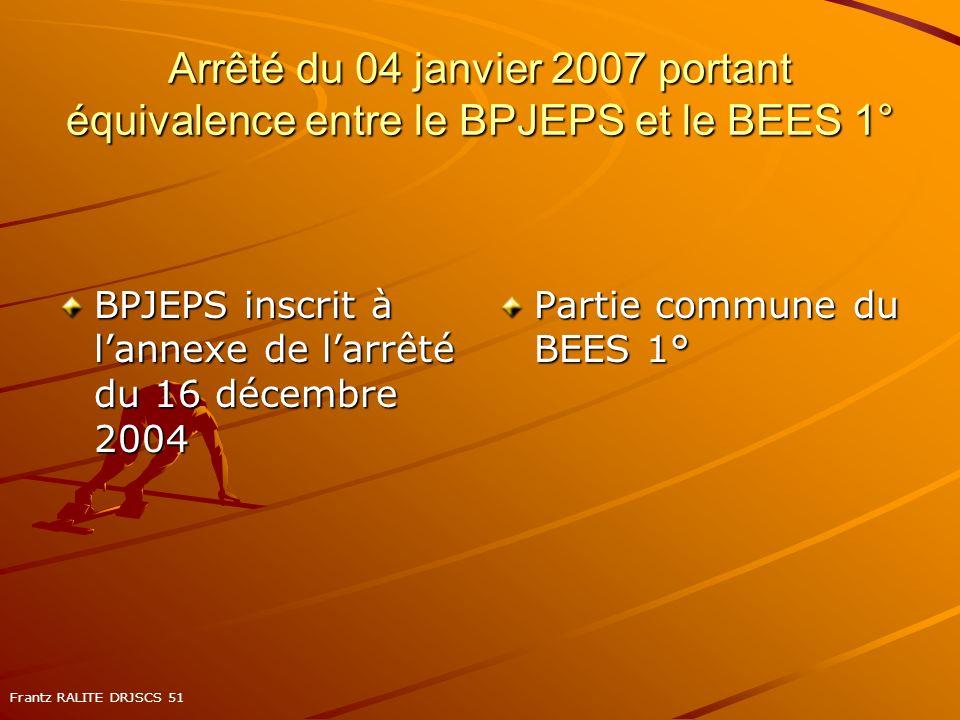 Arrêté du 04 janvier 2007 portant équivalence entre le BPJEPS et le BEES 1° BPJEPS inscrit à lannexe de larrêté du 16 décembre 2004 Partie commune du