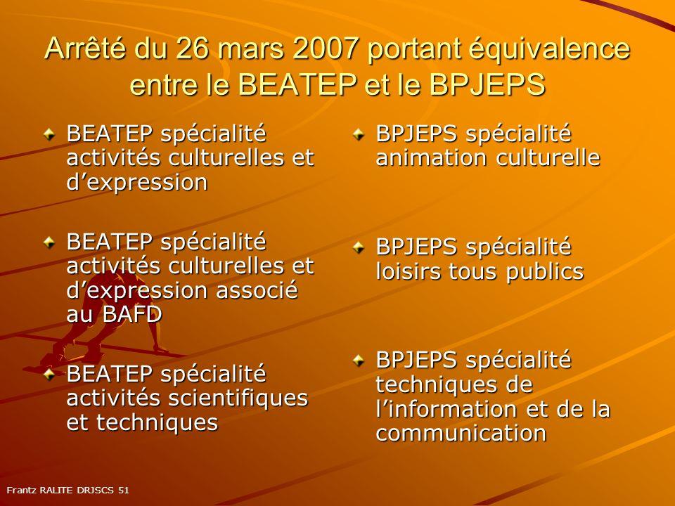 Arrêté du 26 mars 2007 portant équivalence entre le BEATEP et le BPJEPS BEATEP spécialité activités culturelles et dexpression BEATEP spécialité activ