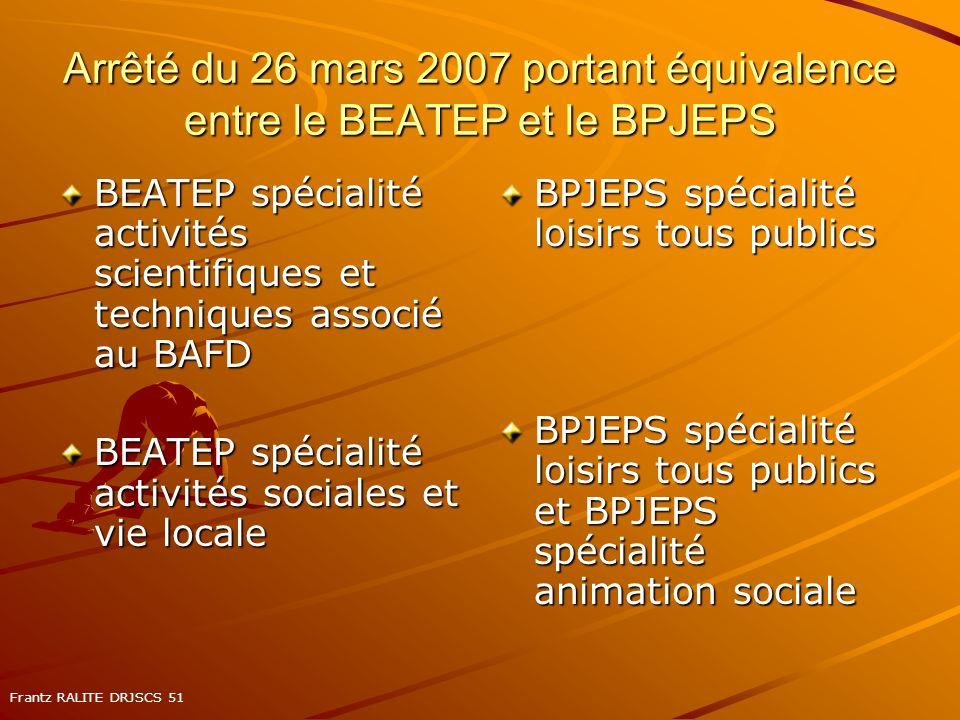 Arrêté du 26 mars 2007 portant équivalence entre le BEATEP et le BPJEPS BEATEP spécialité activités scientifiques et techniques associé au BAFD BEATEP