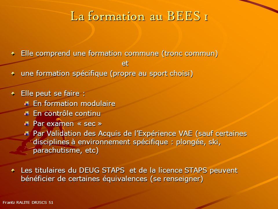 La formation au BEES 1 Elle comprend une formation commune (tronc commun) et une formation spécifique (propre au sport choisi) Elle peut se faire : En