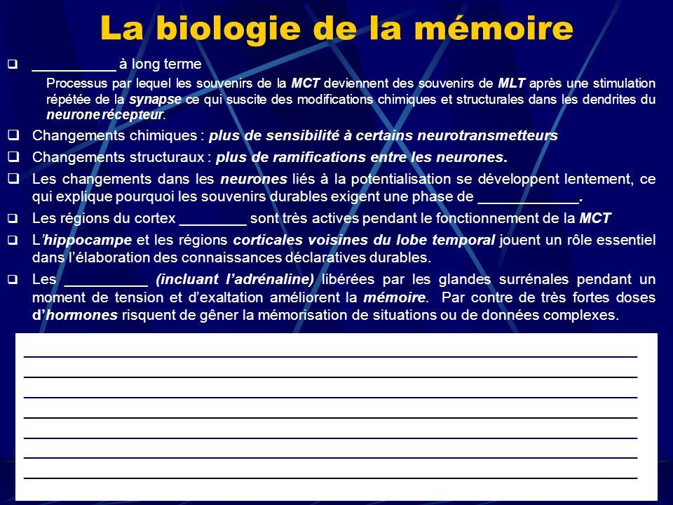 Pathologies de la mémoire Amnésie rétrograde: ne pas se souvenir davant un accident (ou dune maladie) Amnésie antérograde: ne plus mémoriser après un