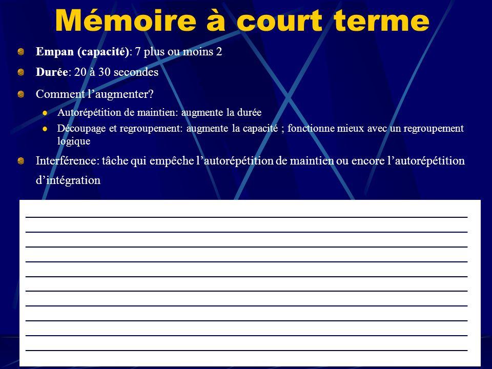 6.2 LE MODÈLE CLASSIQUE DU PROCESSUS DE MÉMORISATION 6.2.1 Mémoire_________ 6.2.2 Mémoire____________ 6.2.3 Mémoire____________ _________ Retient ____