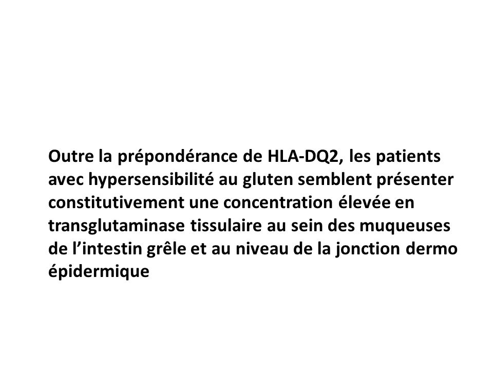 Outre la prépondérance de HLA-DQ2, les patients avec hypersensibilité au gluten semblent présenter constitutivement une concentration élevée en transglutaminase tissulaire au sein des muqueuses de lintestin grêle et au niveau de la jonction dermo épidermique