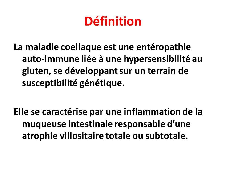 Les Causes (1) Réaction anormale des lymphocytes-T de la muqueuse intestinale au gluten hypersensibilité non-allergique (type IV) réaction auto immunitaire Le gluten est un complexe protéique présent dans les céréales, et obtenu après extraction de lamidon Le gluten est composé : -de protéines (albumine) -de globulines (gluténines et gliadines)