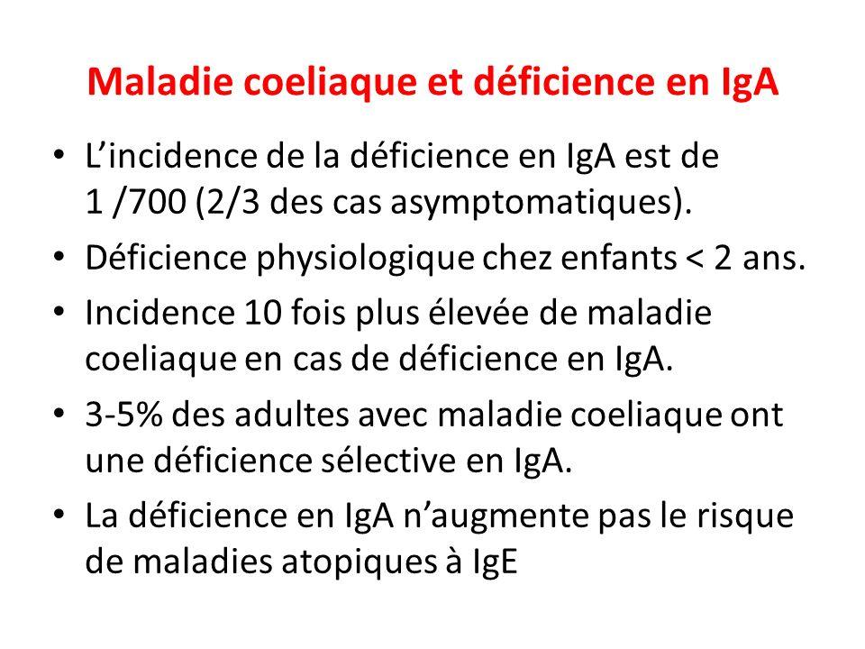 Maladie coeliaque et déficience en IgA Lincidence de la déficience en IgA est de 1 /700 (2/3 des cas asymptomatiques).