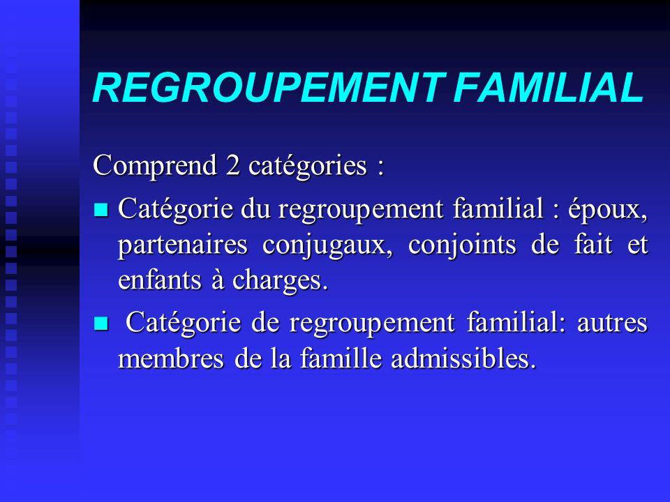 REGROUPEMENT FAMILIAL Comprend 2 catégories : Comprend 2 catégories : Catégorie du regroupement familial : époux, partenaires conjugaux, conjoints de