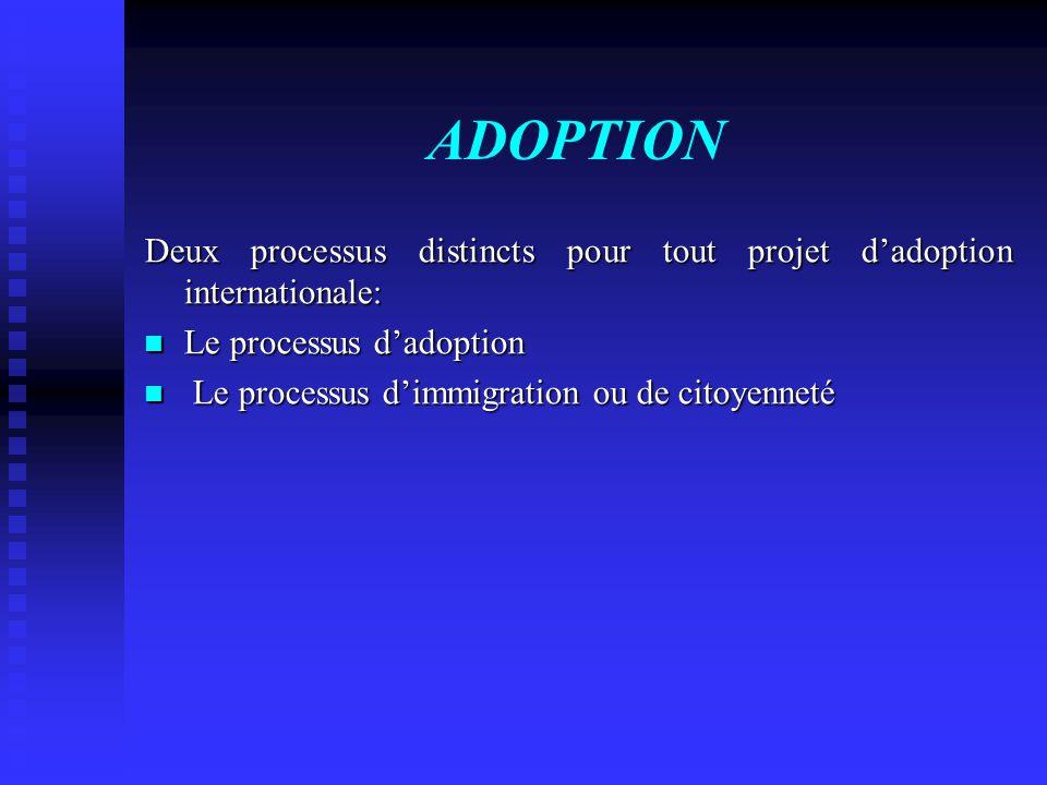 ADOPTION Deux processus distincts pour tout projet dadoption internationale: Le processus dadoption Le processus dadoption Le processus dimmigration o