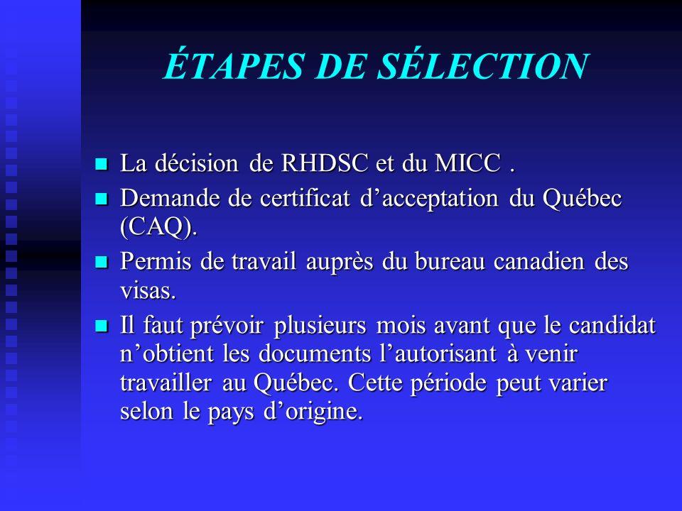 ÉTAPES DE SÉLECTION La décision de RHDSC et du MICC. La décision de RHDSC et du MICC. Demande de certificat dacceptation du Québec (CAQ). Demande de c