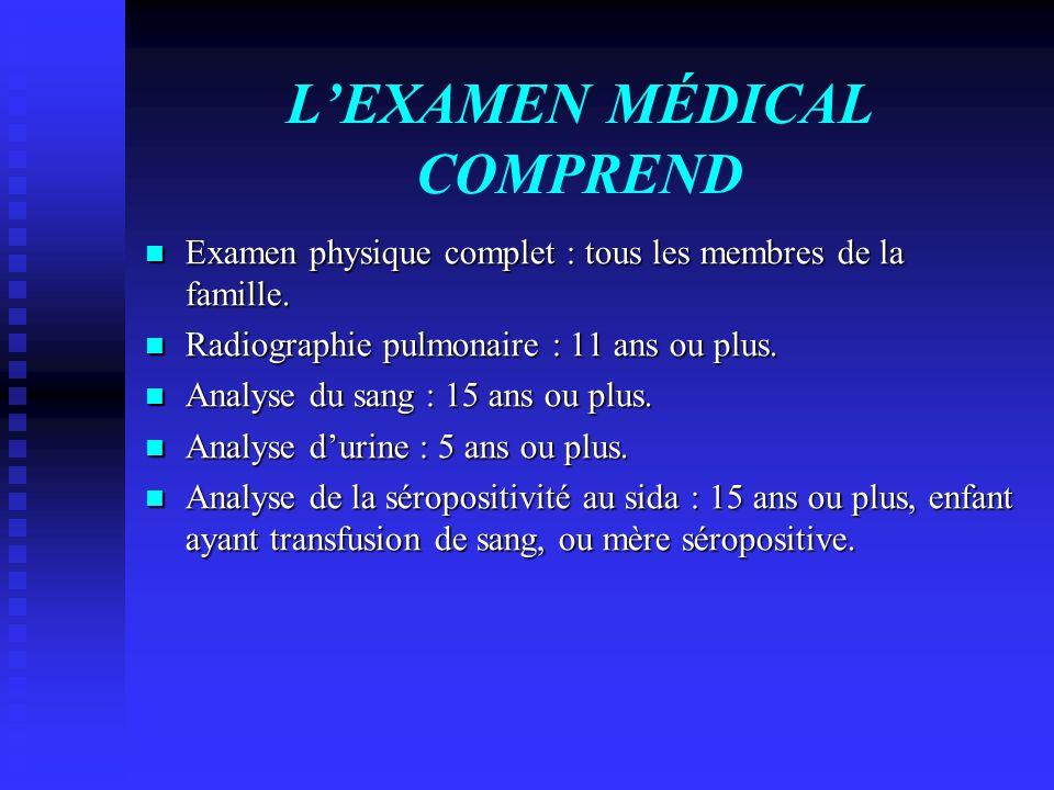 LEXAMEN MÉDICAL COMPREND Examen physique complet : tous les membres de la famille. Examen physique complet : tous les membres de la famille. Radiograp