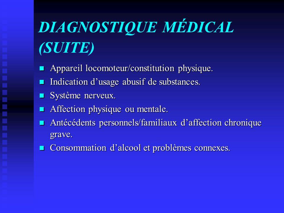DIAGNOSTIQUE MÉDICAL (SUITE) Appareil locomoteur/constitution physique. Appareil locomoteur/constitution physique. Indication dusage abusif de substan