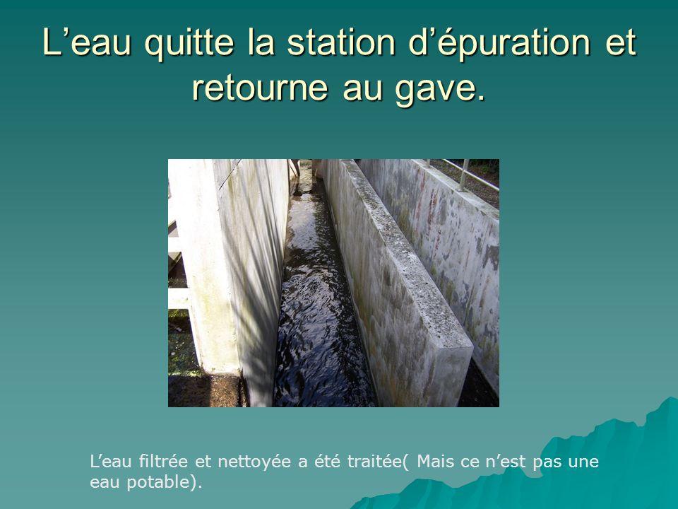 Leau quitte la station dépuration et retourne au gave.