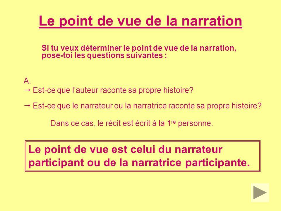 Le point de vue de la narration Si tu veux déterminer le point de vue de la narration, pose-toi les questions suivantes : B.