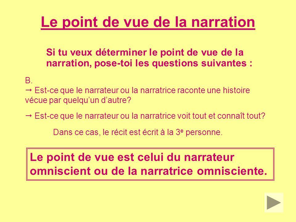 Le point de vue de la narration Si tu veux déterminer le point de vue de la narration, pose-toi les questions suivantes : C.